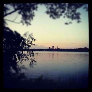 Lake Calhoun with Minneapolis, MN skyline in background