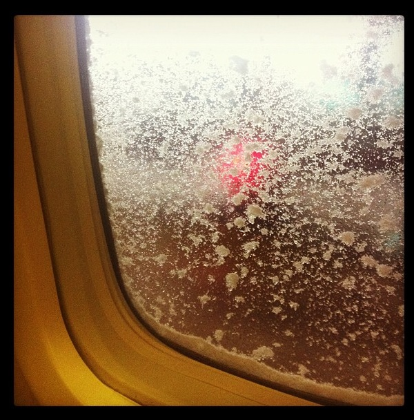 Waiting to de-ice the plane