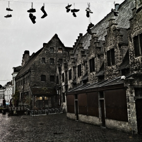 Hanging Shoes Above UrbanStreets